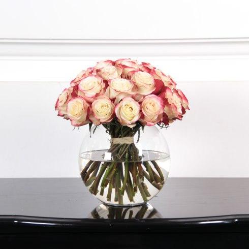 25 роз 50 см бело-розовые